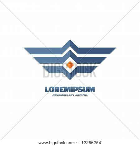 Wings - vector logo concept illustration. Horizontal stripes sign. Abstract wing logo.