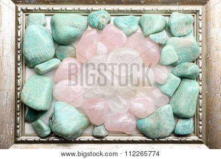 Semiprecious stones in frame closeup