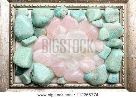 Semiprecious stones in frame closeup