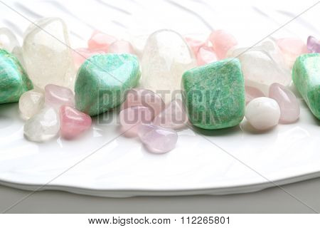 Semiprecious stones on a dish