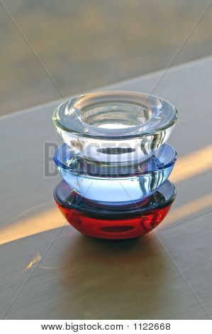 Red, Blue, And Clear Glass Candle Holders