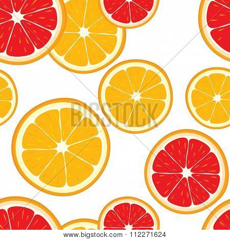 Vector seamless background of orange and grapefruit slices