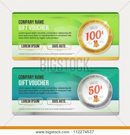Vector Gift voucher template. Clean and modern illustration design. Coupon background.