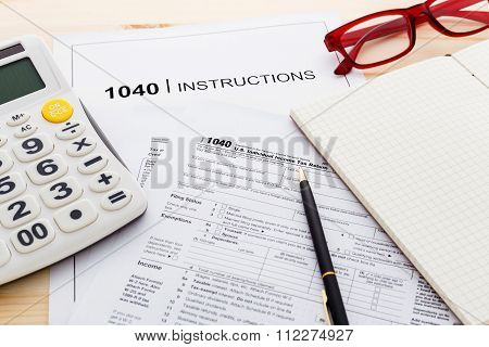 Income Tax Income Return Form On Work Table