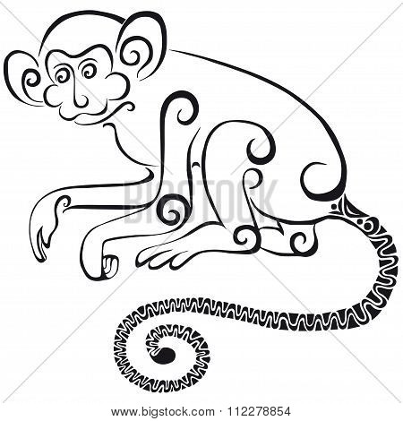 Silhouette of the monkey. Black silhouette on a white background.