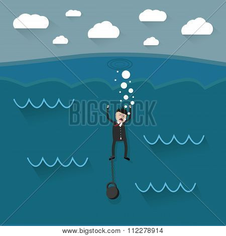 cartoon drowning businessman