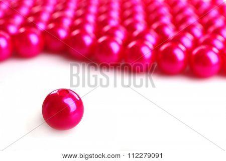 Pink beads, close up