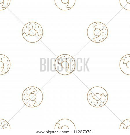 Donuts Outline Seamless Pattern.