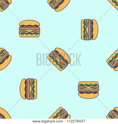 Double Hamburger Colored Seamless Pattern.