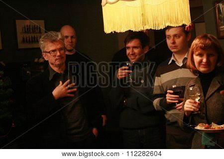 Politician, writer Eduard Limonov at the Christmas meeting with journalists