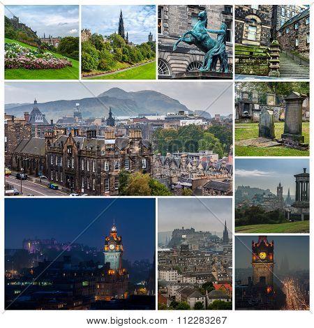 Set Of Travel Photos - Edinburgh, Scotland Landmarks