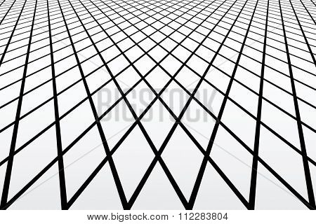 Diamonds latticed geometric texture. Perspective view. Vector art.