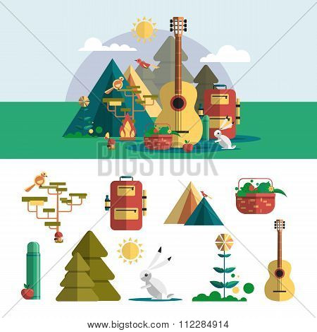 Camping outdoor design elements in flat style. Hiking travel concept with icons, objects. Vector ill