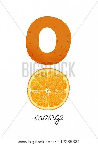 Letter O is for Orange. These ABC illustrations with associated picture are perfect for postcards and interior decoration.