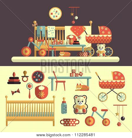Interior of baby room and toys set for kids. Vector illustration in flat  design. Isolated elements,