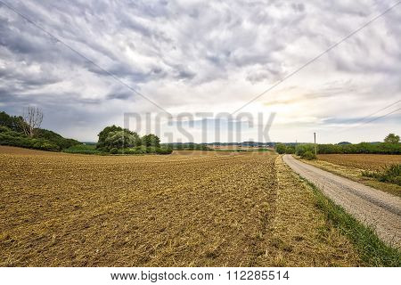 Hdr Landscape With Fields And Dramatic Sky