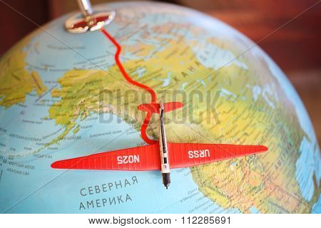 MOSCOW, RUSSIA - JUN 21, 2014: Stalin route. Non-stop flight: Moscow - Udd Island - nonstop flight of Soviet aviators across the North Pole. Tupolev museum