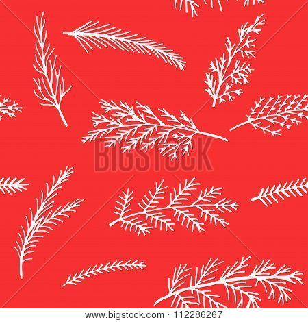 seamless pattern Christmas background white snow spruce twigs on a red background