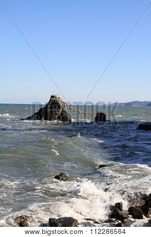 Meoto Iwa (loved one and loved one rock) in Ise Mie Japan