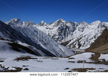 Landscape On The Way From Cho La Pass To Gokyo