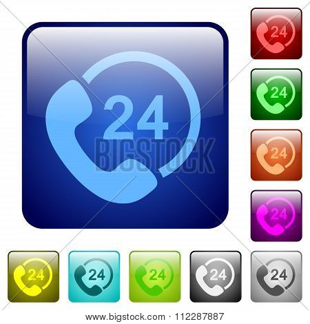 Color 24 Hour Service Square Buttons