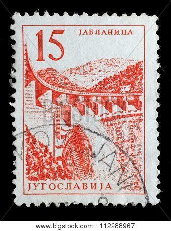 YUGOSLAVIA - CIRCA 1958: Stamp printed in Yugoslavia shows a Hydroelectric works, Jablanica, with the same inscription, from series