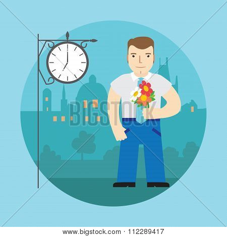Man With Flowers Waiting For A Date, On A Street Behind The Clock And Night City. Vector.