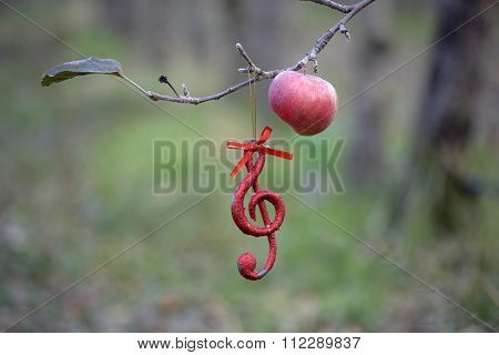 Musical Notes  In Apple Orchard