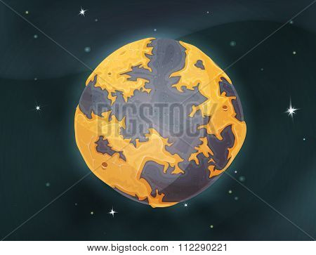 Cartoon Earth Planet On Space Background