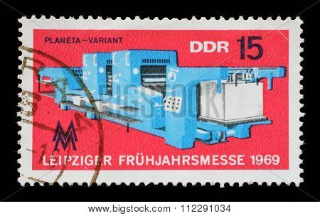 GDR - CIRCA 1969: a stamp printed in GDR shows Leipzig Fair, circa 1969