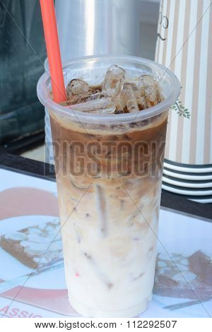 Close Up Iced Coffee In Plastic Cup
