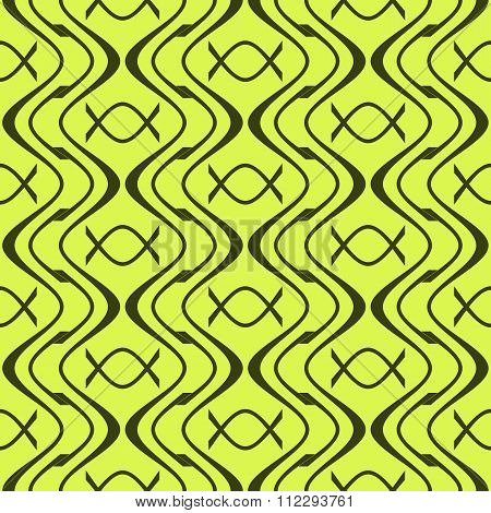 Elegant Abstract Seamless Pattern Of Wavy Lines