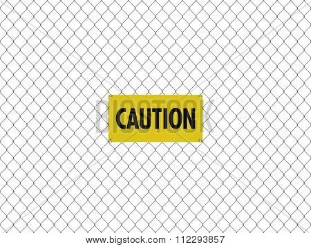 Caution Sign Seamless Tileable Steel Chain Link Fence