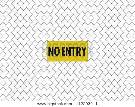 No Entry Sign Seamless Tileable Steel Chain Link Fence