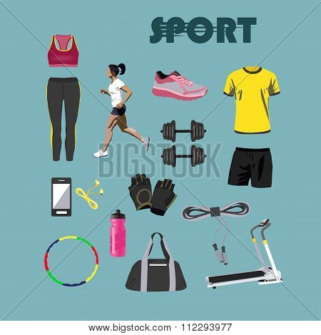 Fitness isolated icons set. Sport equipment and accessories. Design elements, running clothes, phone