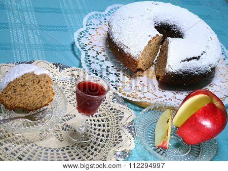 apple cake with homemade  liquor for a treat