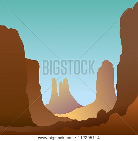 Minimalistic landscape of the canyon