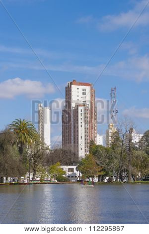 Buildings And Lake In La Plata City In Buenos Aires, Argentina