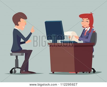 Task Conversation Job Interview Businessman at Desk Working on Computer Cartoon Characters Icon Styl