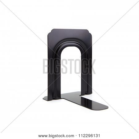 Black iron book stand, or book end, isolated on white.