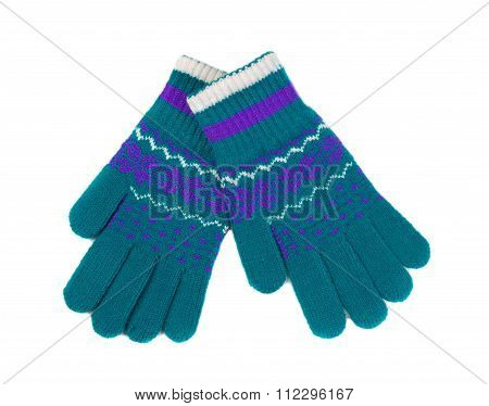 Green And Blue Dotted Pattern With Winter Gloves, Pair.