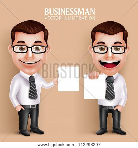 Professional Business Man Vector Character Holding Blank White Paper