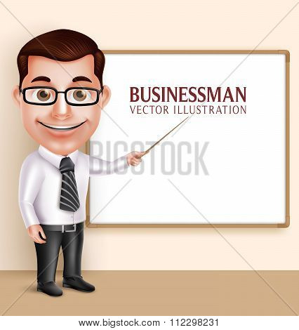Professional Teacher Man or Professor Vector Character Teaching