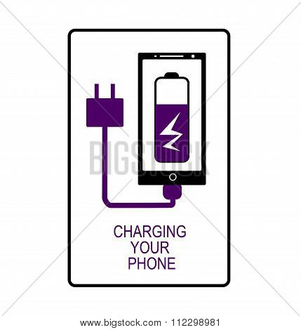 Phone charging. Vector flat icon isolated.