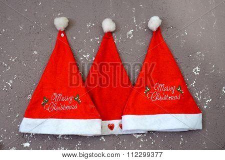Three  Santa Claus Red Hats