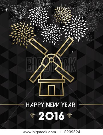New Year 2016 Netherlands Windmill Travel Gold