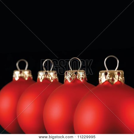 Red Christmas Balls In A Row