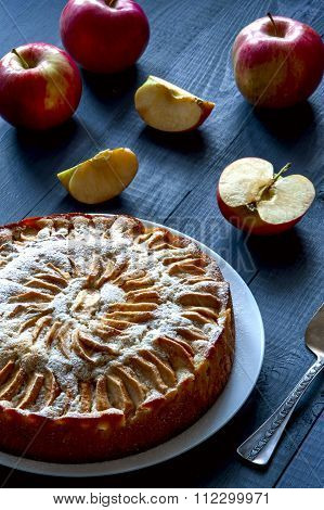 Apple pie,  white plate on rustic background