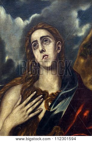 ZAGREB, CROATIA - DECEMBER 08: Follower of Domenico Theotocopuli El Greco: St. Mary Magdalene, Old Masters Collection, Croatian Academy of Sciences, December 08, 2014 in Zagreb, Croatia