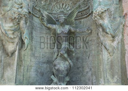 bronze fountain with figures of angels in Marbella Andalucia Spain